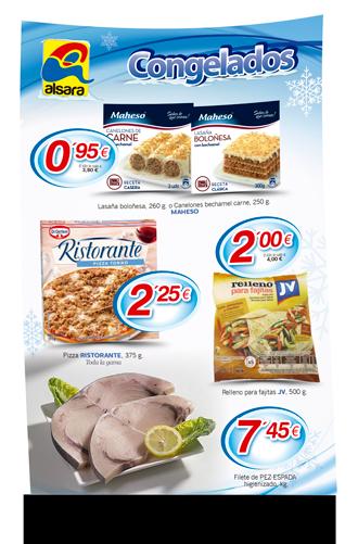 Cartel congelados alsara supermercados