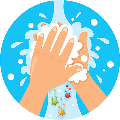 manos agua jabon
